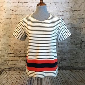 Madewell Mainsail Tee Stripe Red Exposed Zipper L